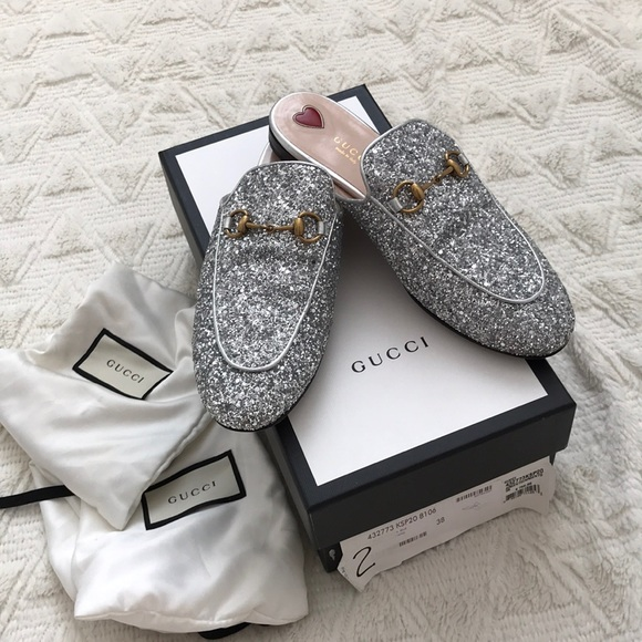 3d6cde6cbaa8 Gucci Shoes | Worn Twice Princetown Glitter Slippers | Poshmark
